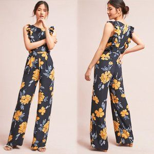 Anthropologie Navy Yellow Floral Ruffle Jumpsuit 2